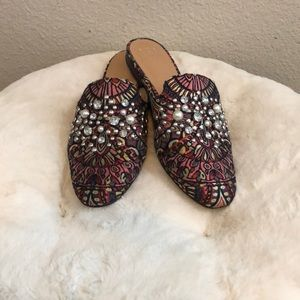 pink diamond pearl studded mules